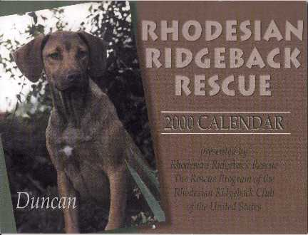2001 Ridgeback Monthly Calendar